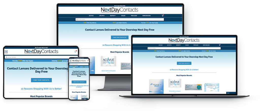 Next Day Contacts Device Mock-Up