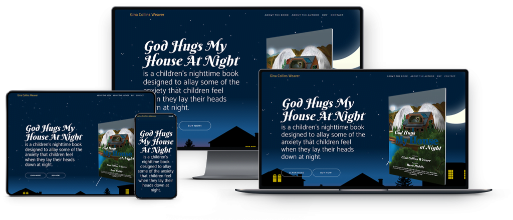 God Hugs my House at Night Device Mock-Up